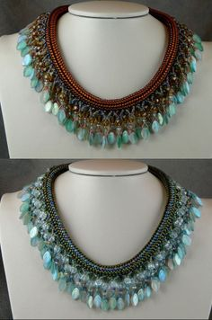 """Beadweaving Design by Dina Broyde featured EyeCandy in recent Bead-Patterns.com Newsletter! See link for details how to purchase these """"Queen of the Nile"""" necklaces