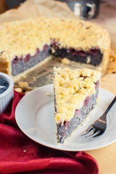 Kirsch-Mohn-Kuchen mit Streuseln {vegan}