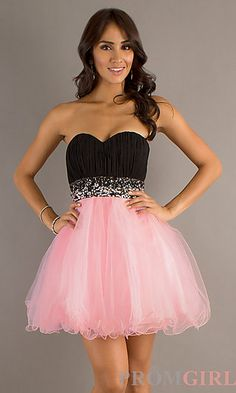 Short Strapless Sweetheart A-Line Tulle Dress at PromGirl.com
