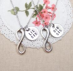 Lil Sis Big Sis necklaces set of two infinity by vespestudio