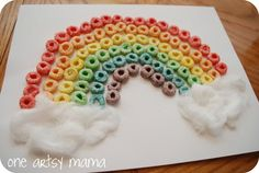 St. Patrick's Day kid craft- fruit loop rainbow