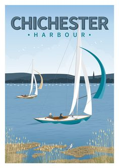 A3 retro travel poster Chichester Harbour by FrontsidePrints