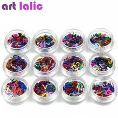 Free Shipping 12pcs Nail Art Alphabet Paillette Letters A-Z Tips DIY Decoration Nail Art Glitter Spangles