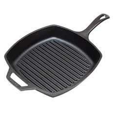 Lodge L8SGP3 Pre-Seasoned Cast-Iron Square Grill Pan, 10.5-inch: Cast Iron Skillet