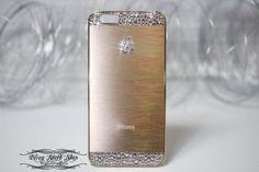 *Bling* Gold Aluminium Brushed hard back iPhone 6 Plus case w Swarovski elements #UnbrandedGeneric