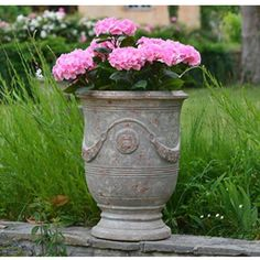 Vase d'Anduze patiné grise D.90xH.105cm - Poterie de la Madeleine, Pots en terre cuite