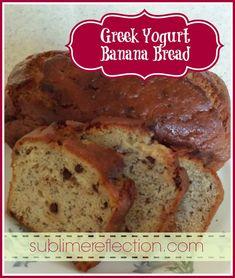 Thumbs up - just made this one - Delish --- Greek Yogurt Banana Bread - Sublime Reflection Greek Yogurt Banana Bread, Moist Banana Bread, Banana Nut, Yogurt Bread, Healthy Cookie Recipes, Healthy Baking, Banana Recipes, Bread Recipes, Yummy Recipes