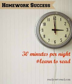 back to school ideas for homework success-- help your child learn to read by following this 30 minute plan each day