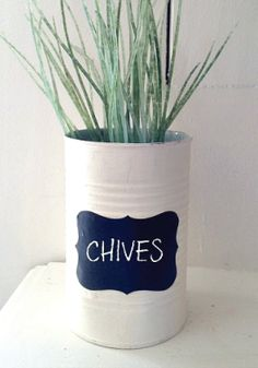 This DIY upcycled soup can is a super cute addition to an indoor herb garden.