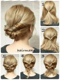 быстрая прическа для средней длины волос
