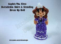 Rainbow Loom Princess Sofia Charm/Action Figure - Detachable Skirt  Stand Alone Doll tutorial by Izzalicious Designs