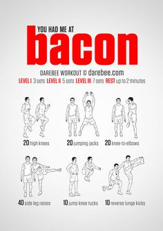 """You Had Me At Bacon. Also known as """"The Belly Burner"""" workout - Darebee Workout 300 Workout, Cardio Workout At Home, Gym Workout Tips, Workout Challenge, No Equipment Workout, At Home Workouts, Workout Plans, Sandbag Workout, Spartan Workout"""