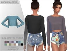 The Sims 4 LONG-SLEEVED MIDRIFF TOP by annabluu