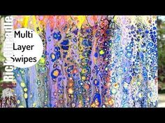 87. Acrylic Paint Pouring with Multi- Layered Swipes and Skimming. Fluid...