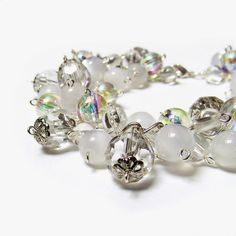 Clear crystal bracelet with cat's eye beads, Silver and white cluster bracelet, Faux crystal plastic Lightweight acrylic Pure innocent fairy