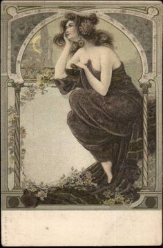 'Beautiful Woman Moon Gazing' Postcard 1906