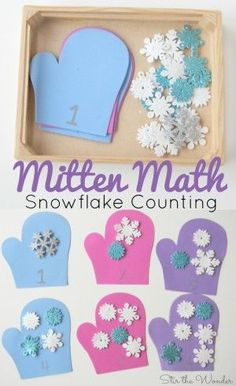 Math Snowflake Counting Activity for Preschoolers is a simple winter themed number recognition and counting activity!Mitten Math Snowflake Counting Activity for Preschoolers is a simple winter themed number recognition and counting activity! Counting Activities For Preschoolers, Winter Activities For Kids, Preschool Lessons, Preschool Classroom, Preschool Learning, Classroom Activities, Winter Crafts For Preschoolers, Preschool Number Activities, January Preschool Themes