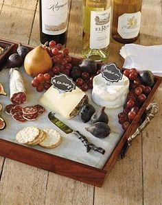 Host a sophisticated wine and cheese party with the help of the rustic Tuscan Cheese Serving Tray Set; complete with three premium cheese utensils.