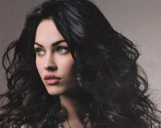 Megan Fox with Black Hair and Blue Eyes