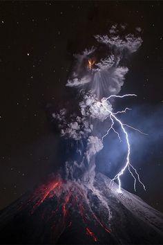 Photo: Colima Volcano in Mexico, powerful explosion and lightning by Sergio Tapiro Velasco // 500px.com/tapiro