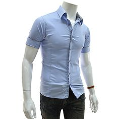 (EVSS17-SKY) Slim Fit Checker Patched Stretchy Short Sleeve Shirts