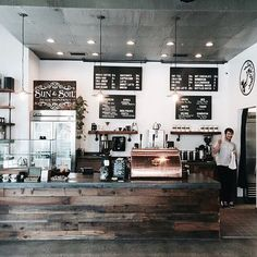 If coffee and cake is more your thing, try Insight Coffee Roasters in Sacramento Industrial Coffee Shop, Rustic Coffee Shop, Coffee Shop Bar, Roasters Coffee, Coffee Shop Aesthetic, Mein Café, Coffee Bar Design, Cafe Interior Design, Café Bar