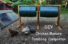 """DIY: Chicken Manure tumbler/composter..... I think you could make """"hand cranked chicken plucker"""" using the same princple........"""