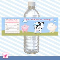Printable Personalized Cute Barn Animals Water Bottle Label Wrappers - Moo Sweet Farm Pig Cow Sheep Birthday Boy Girl Unisex Custom Wraps