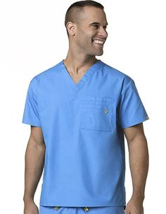 Style Code: (WI-6006)  This scrub top is a Unisex Fit V-Neck. It has a WonderWink signature triple chest pocket and ID bungee loop.