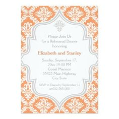 Coral, white, grey damask wedding Rehearsal Dinner 5x7 Paper Invitation Card
