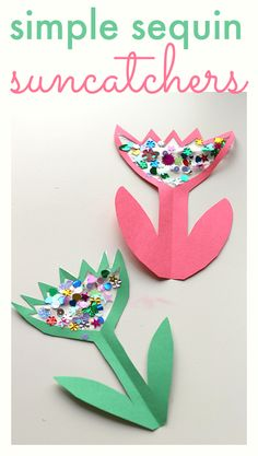 Easy flower craft for spring. Great for mother's day too. from @Allison j.d.m j.d.m @ No Time For Flash Cards