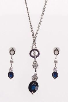 10k White Gold Diamond & Sapphire Set - Beyond the Rack