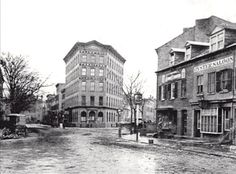 1873 . East 9th and Stuyvesant Streets. Photo shows the awkward conversion of Stuyvesant St and E. 9th St facing east from Third Avenue. Stuyvesant to the left runs east west is the only local street not redeveloped during the Manhattan grid plan of 1811, therefore, this one block runs against the modern street pattern. Today the intersection has been completely redesigned with a small fenced in park situatiated in the traingle. Photo Source- New York Transit Museum
