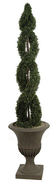 """6FT Artificial Double Spiral Topiary for special events and venues.    Commercial quality plant like features Center metal pole for durability Stabilizing weight base included Choose between 4ft or 6ft tall plants Plant width for 4ft plant is 14"""" and width for 6ft plant is16"""" Plant Tip Count for 4ft plant is 1,742 and tip count for 6ft plant is 3,390 Decorative pot sold separately"""