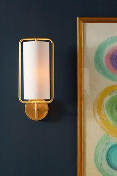 Geometric Sconce by Anthropologie in Gold, Lighting – Lighting Ideas Home Design, Design Studio, Design Design, Karim Rashid, Plywood Furniture, Unique Lighting, Lighting Design, Lighting Ideas, Decorative Lighting