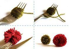 Три способа как сделать помпоны своими руками из ниток: с помощью пальцев,картонных кругов или вилки.Из готовых помпонов можно делать ковры, гирлянды, декор