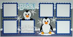 Scrapbook Page Kit Brrr Penguin Snow 2 page Scrapbook Layout Kit 126