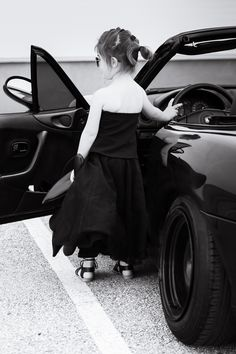 Miss Kaira rocking Angel's Face long ballet tulle skirt and Mazda Miata convertible