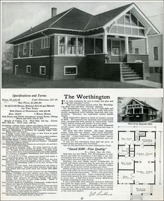 1916 Sterling - Worthington.  Like many of the Sterling homes, the Worthington bungalow has a Jack-and-Jill bathroom shared by both bedrooms with no access but through one of the bedrooms.  The den, with windows on two sides, adjoined the living room to provide additional public space or serve as an office or guest room.