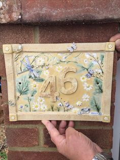 Bespoke ceramic house number plaques - hand made to order. House Name Plaques, House Number Plaque, Wall Plaques, Pottery Houses, Ceramic Houses, Ceramic Wall Art, Ceramic Pottery, Crochet Vase, Ceramic House Numbers