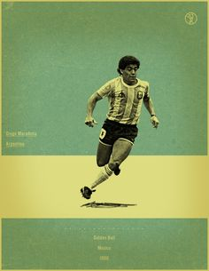 Diego Maradona Mexico 1986 world cup fifa golden ball winner poster illustation Football Awards, Football Icon, Football Is Life, Retro Football, Football Design, Football Art, World Football, Vintage Football, Soccer Art