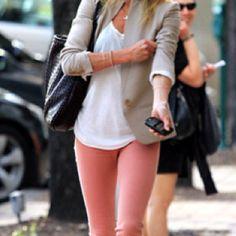 Coral pants, white tee and tan blazer