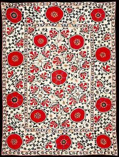 red floral carpet design (probably central asian area) - (Universe Mininga)