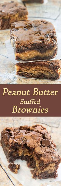 Peanut Butter Stuffed Brownies | CookJino