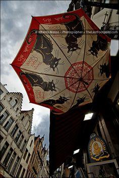ツツツ  By Alberto Mateo, Travel Photographer. Black cat umbrella, Bourse street, Brussels, Belgium.
