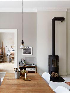 piso de la estufa+cañería que vaya hacia atrás, por el techo del comedor