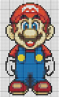 SuperMario para hama / pyssla o punto de cruz >> Mario pattern to use with perler beads.