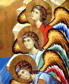 The icon - painters Giovanni Raffa and Laura Renzi (Italy) Byzantine Icons, Byzantine Art, Religious Icons, Religious Art, I Believe In Angels, Angels Among Us, Catholic Art, Guardian Angels, Art Icon