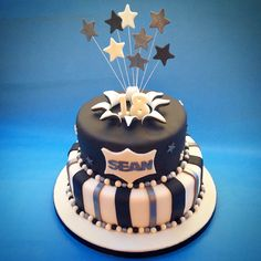 18th Birthday cake gold Silver Black theme Party time