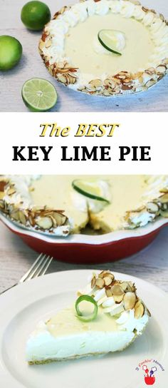 Take a bite out of this slightly tart & creamy key lime pie and you will think you're in the tropics! It's super easy to make & a Florida Keys favorite. Key Lime Desserts, Great Desserts, Best Dessert Recipes, Delicious Desserts, Sweets Recipes, Drink Recipes, Florida Food, Florida Keys, Tart Recipes